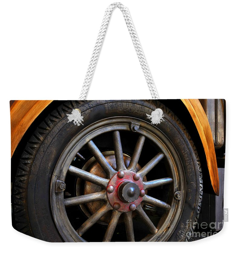 Truck Wheel Weekender Tote Bag featuring the photograph Spokes by David Lee Thompson