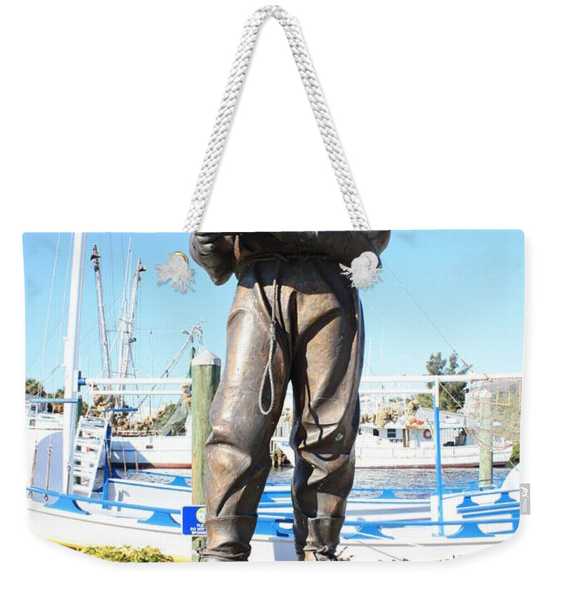 Tarpon Springs Weekender Tote Bag featuring the photograph Sponge Diver Memorial by Carol Groenen