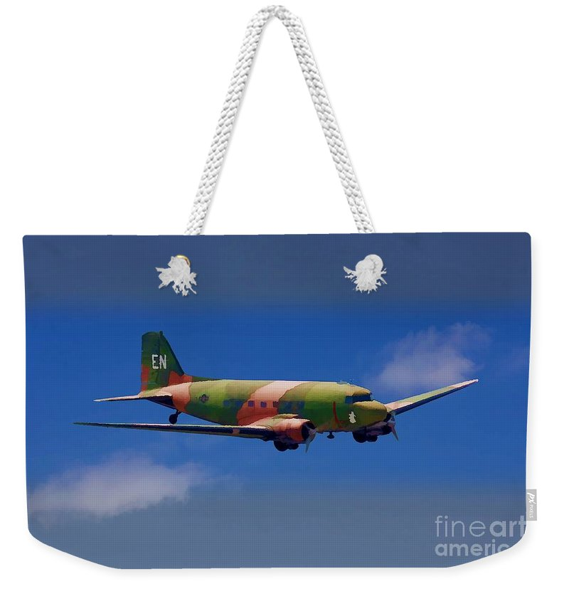 Douglas Weekender Tote Bag featuring the digital art Spooky Douglas Ac-47 by Tommy Anderson