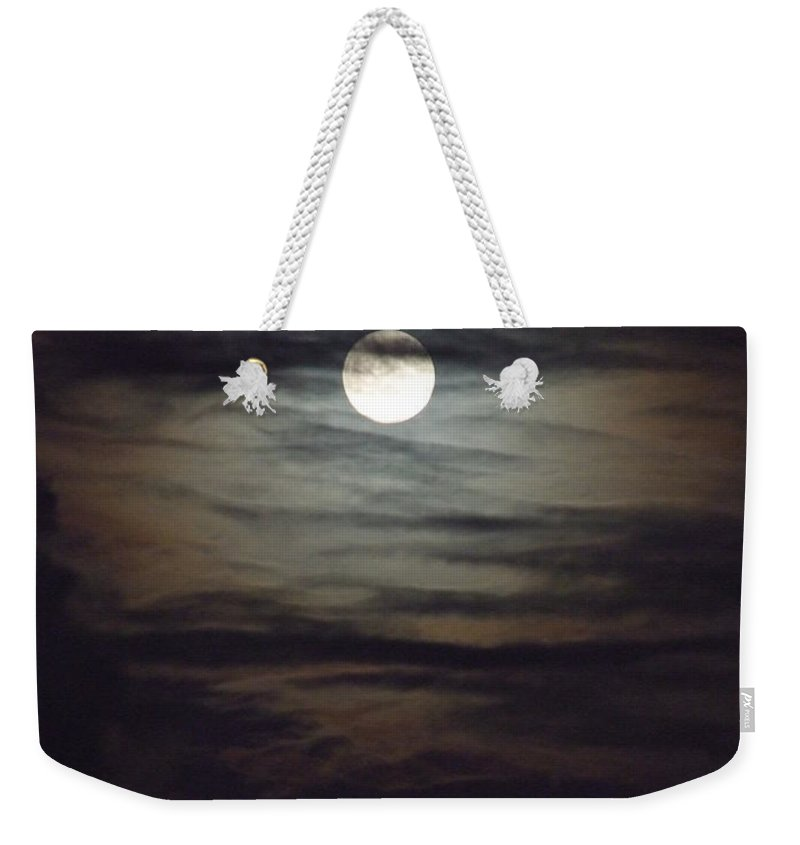 Mary Deal Weekender Tote Bag featuring the photograph Spooky Moon by Mary Deal