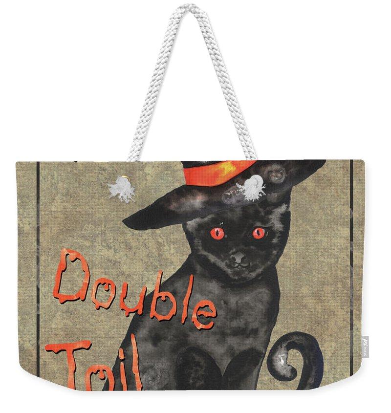Hat Weekender Tote Bag featuring the painting Spooky Pumpkin 3 by Debbie DeWitt