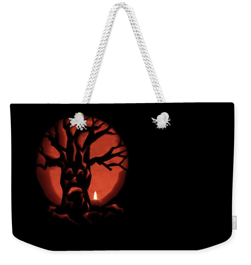 Candle Weekender Tote Bag featuring the photograph Spooky by Shelley Neff