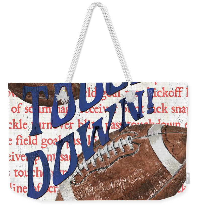Football Weekender Tote Bag featuring the painting Sports Fan Football by Debbie DeWitt