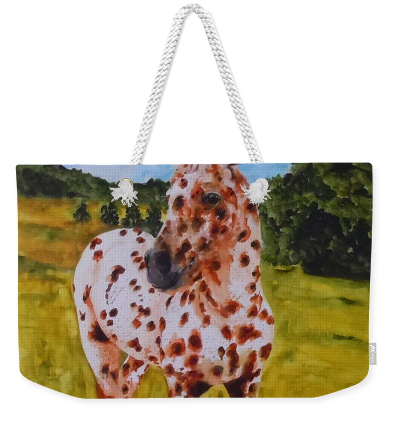 Horse Weekender Tote Bag featuring the painting Spotted in Hawaii by Jean Blackmer