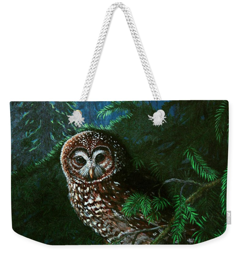 Owl Weekender Tote Bag featuring the painting Spotted Owl In Ancient Forest by Nick Gustafson