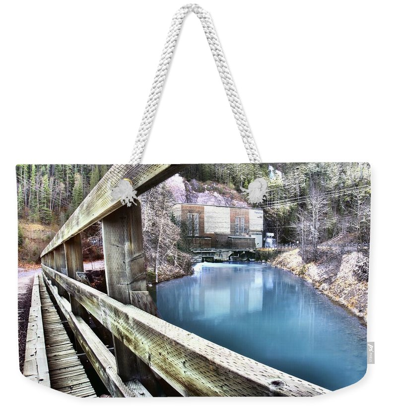 Spray Lakes Power Generation Weekender Tote Bag featuring the photograph Spray Lakes Generators by Ken McMullen