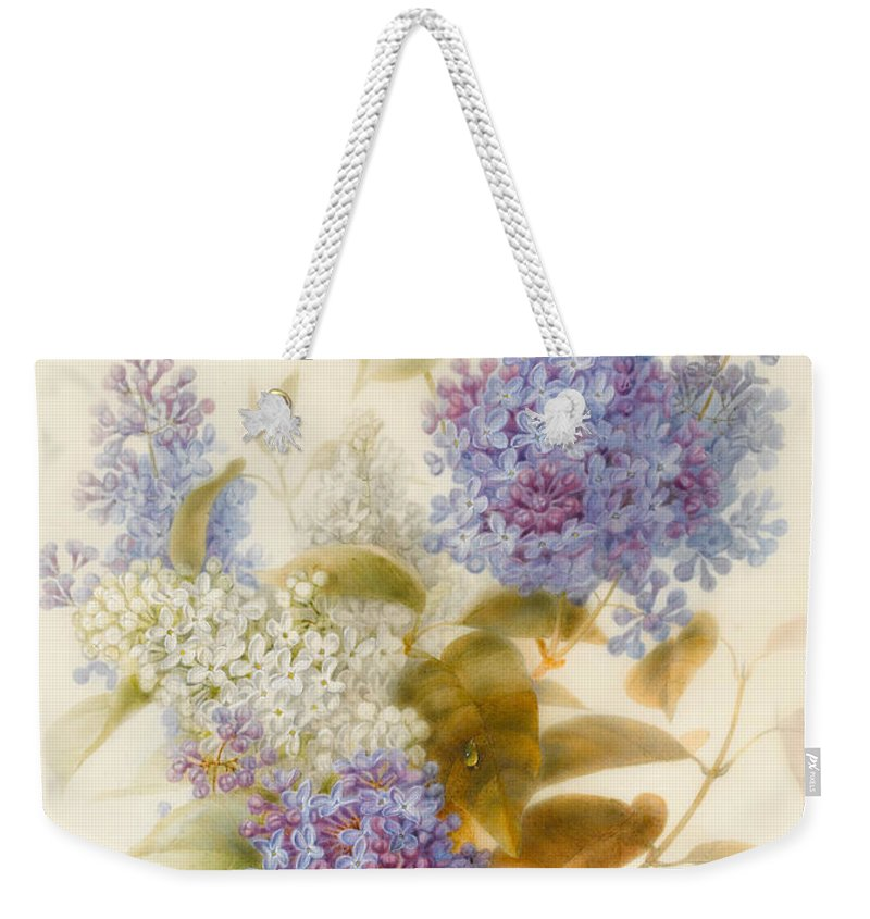 Lilac Weekender Tote Bag featuring the painting Spray Of Lilac by Pauline Gerardin