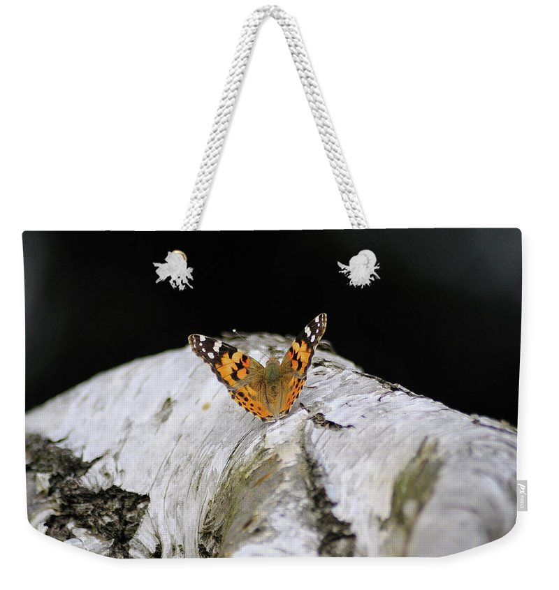 Butterfly Weekender Tote Bag featuring the pyrography Spread Your Wings And Fly by Ilaria Andreucci
