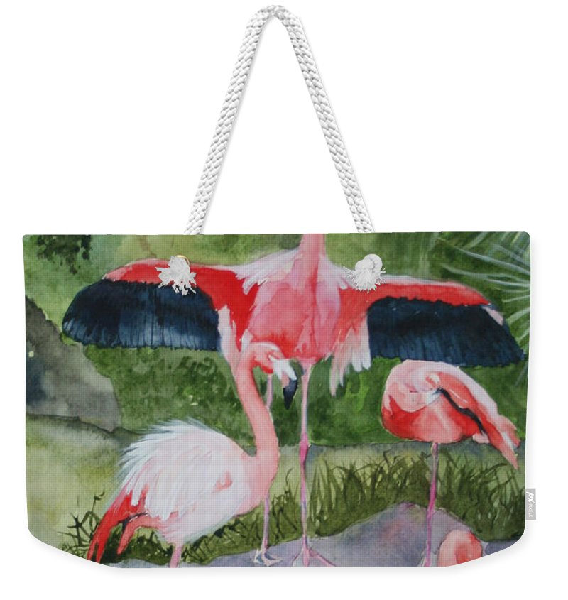 Wings Weekender Tote Bag featuring the painting Spreading My Wings by Jean Blackmer