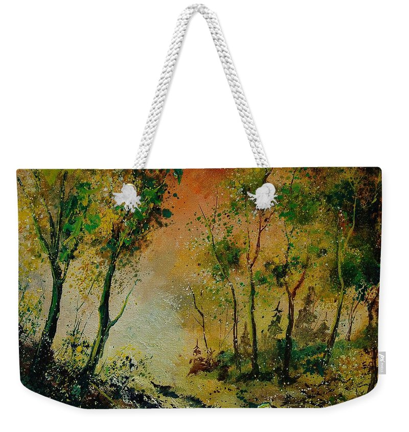 Spring Weekender Tote Bag featuring the painting Sprin In Wood 45 by Pol Ledent