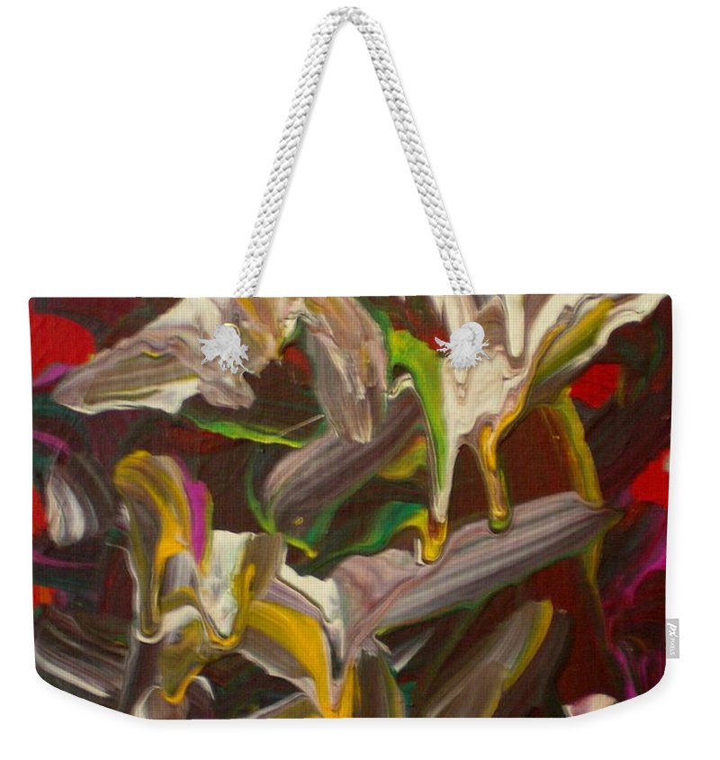 Spring Weekender Tote Bag featuring the painting Spring Abstract -026 by Will Logan