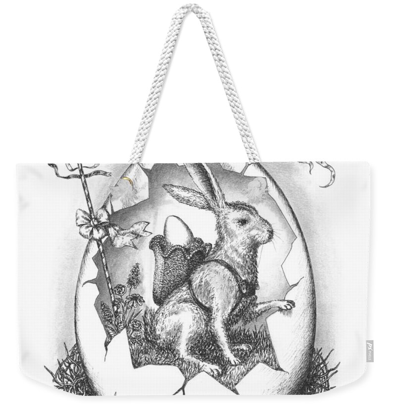 Black Weekender Tote Bag featuring the drawing Spring Arrives by Adam Zebediah Joseph