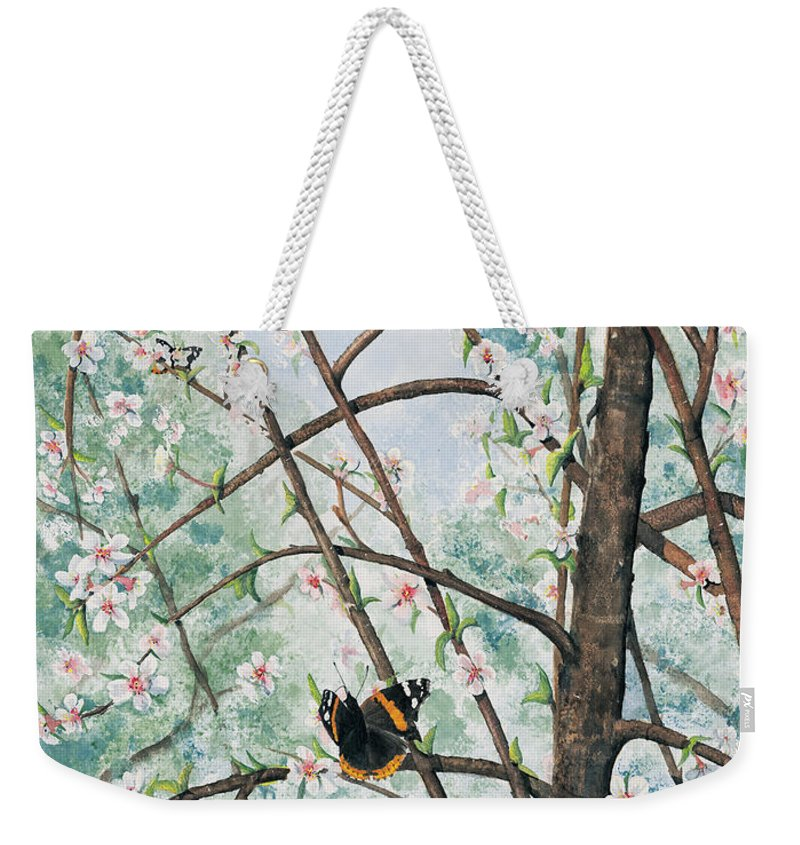 Butterfly Weekender Tote Bag featuring the painting Spring Blossom by Mary Tuomi