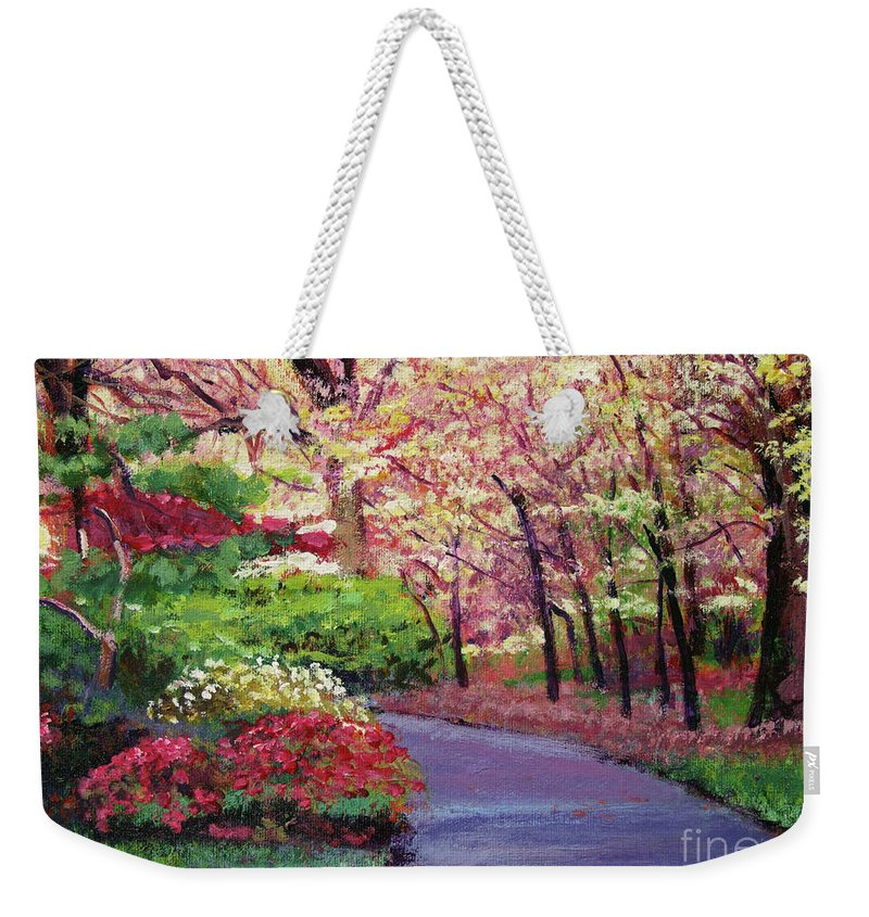 Pathways Weekender Tote Bag featuring the painting Spring Blossoms Impressions by David Lloyd Glover