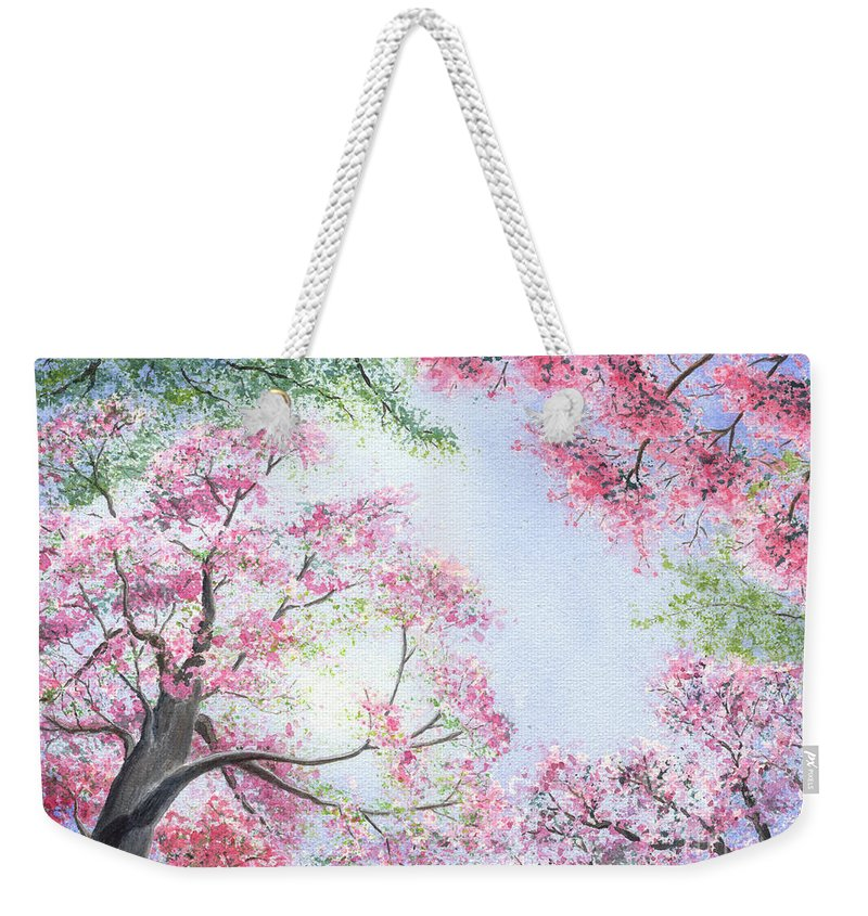 Tree Blossoms Weekender Tote Bag featuring the painting Spring Blossoms by Lynn Quinn