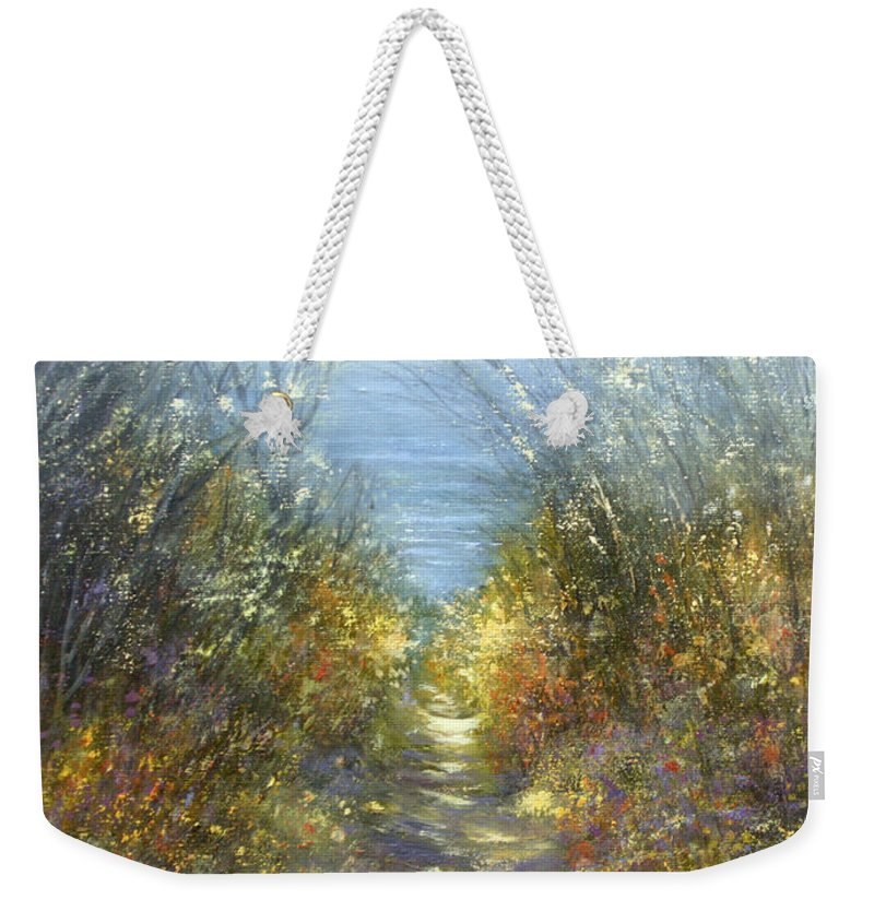 Landscape Weekender Tote Bag featuring the painting Spring Blosssom by Valerie Travers