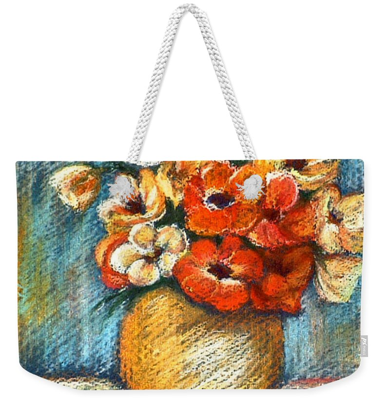Stilllife Weekender Tote Bag featuring the drawing Spring Bouquet by Portraits By NC