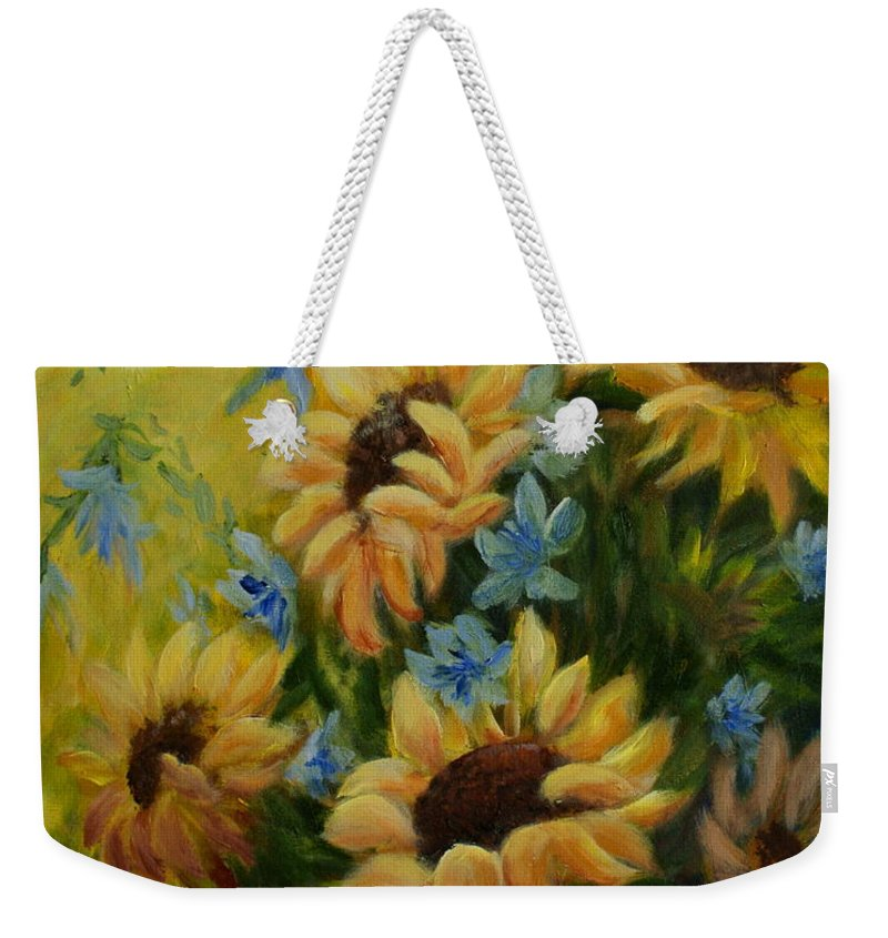 Daisies Weekender Tote Bag featuring the painting Sunflowers Galore by Joanne Smoley