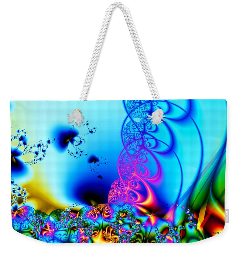 Fractal Weekender Tote Bag featuring the digital art Spring Breezes by Claire Bull