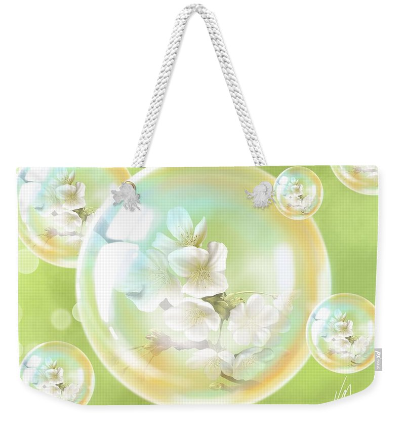 Spring Weekender Tote Bag featuring the painting Spring Bubbles by Veronica Minozzi