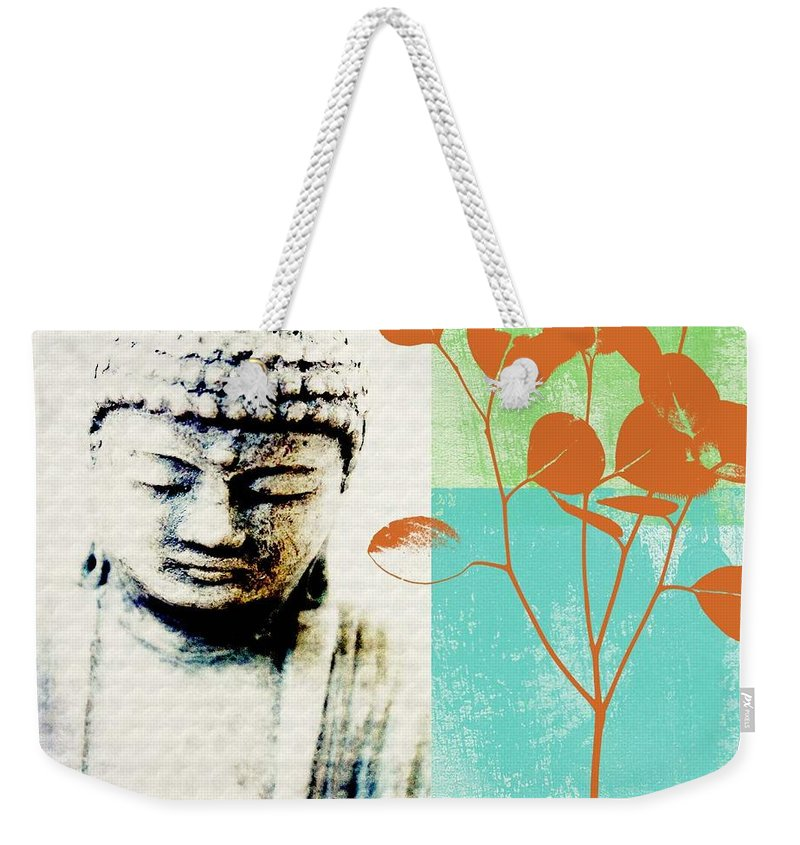 Buddha Weekender Tote Bag featuring the mixed media Spring Buddha by Linda Woods
