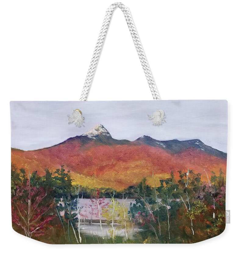 Mt. Chocorua Weekender Tote Bag featuring the painting Spring Burst at Chocorua by Sharon E Allen