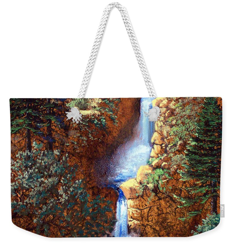 Wilderness Weekender Tote Bag featuring the painting Spring Cascade by Frank Wilson