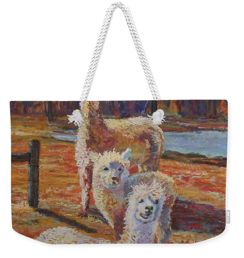 Alpaca Weekender Tote Bag featuring the pastel Spring Celebration - Mothers And Child by Alicia Drakiotes