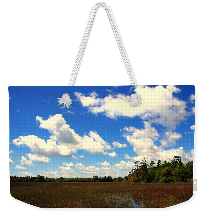 Spring Weekender Tote Bag featuring the photograph Spring Clouds Over The Marsh by Susanne Van Hulst