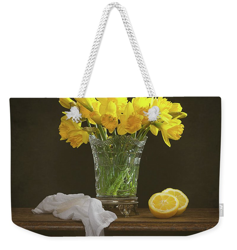 Bunch Weekender Tote Bag featuring the photograph Spring Daffodil Flowers by Amanda Elwell