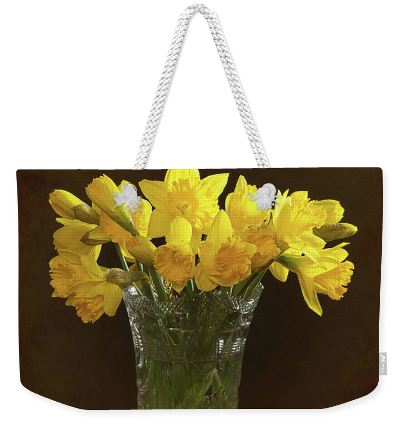 Bunch Weekender Tote Bag featuring the photograph Spring Daffodils by Amanda Elwell