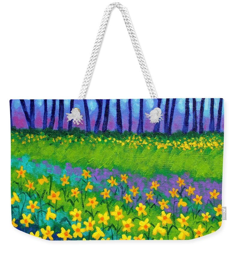 Daffodils Weekender Tote Bag featuring the painting Spring Daffodils by John Nolan