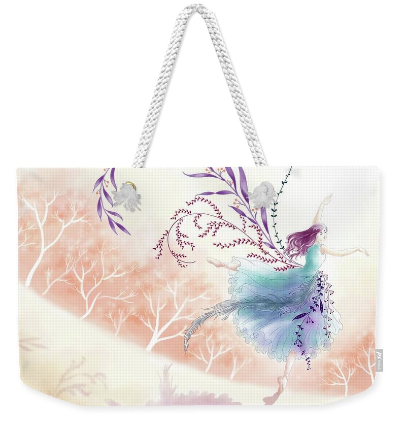 Illustration Weekender Tote Bag featuring the drawing Spring Dance by Elin Lynn