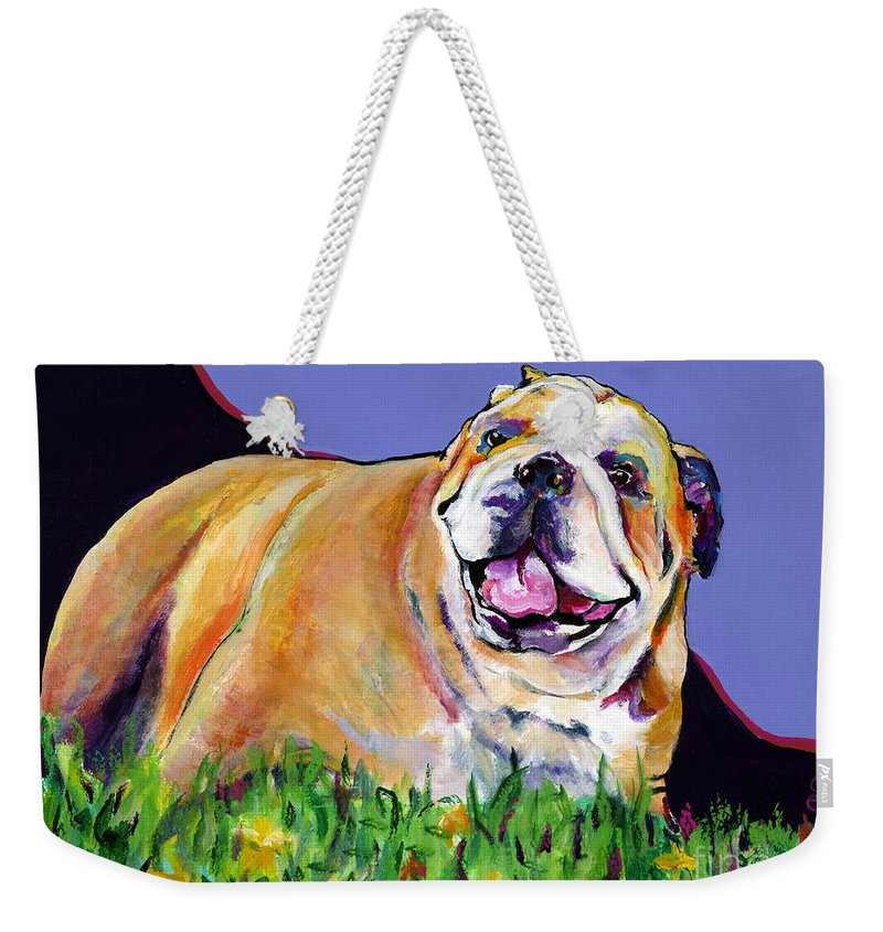 Pet Painting Weekender Tote Bag featuring the painting Spring Fever by Pat Saunders-White
