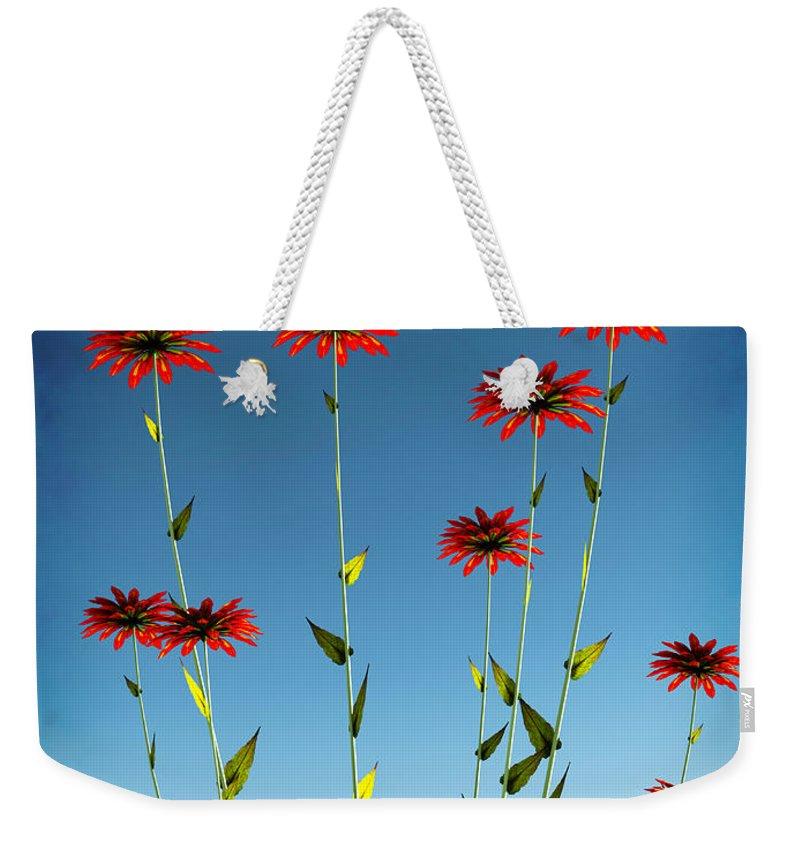 Red Weekender Tote Bag featuring the digital art Spring Fireworks... by Tim Fillingim