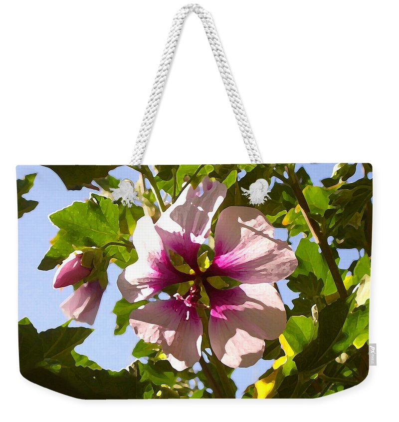 Flower Weekender Tote Bag featuring the painting Spring Flower Peeking Out by Amy Vangsgard