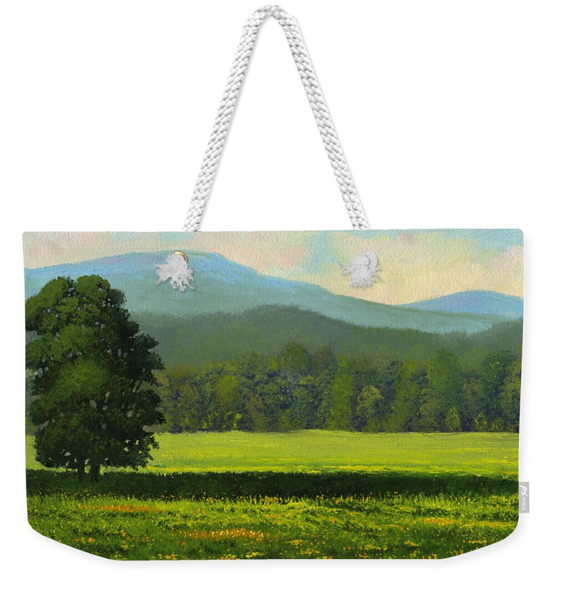 Landscape Weekender Tote Bag featuring the painting Spring Flowers by Frank Wilson