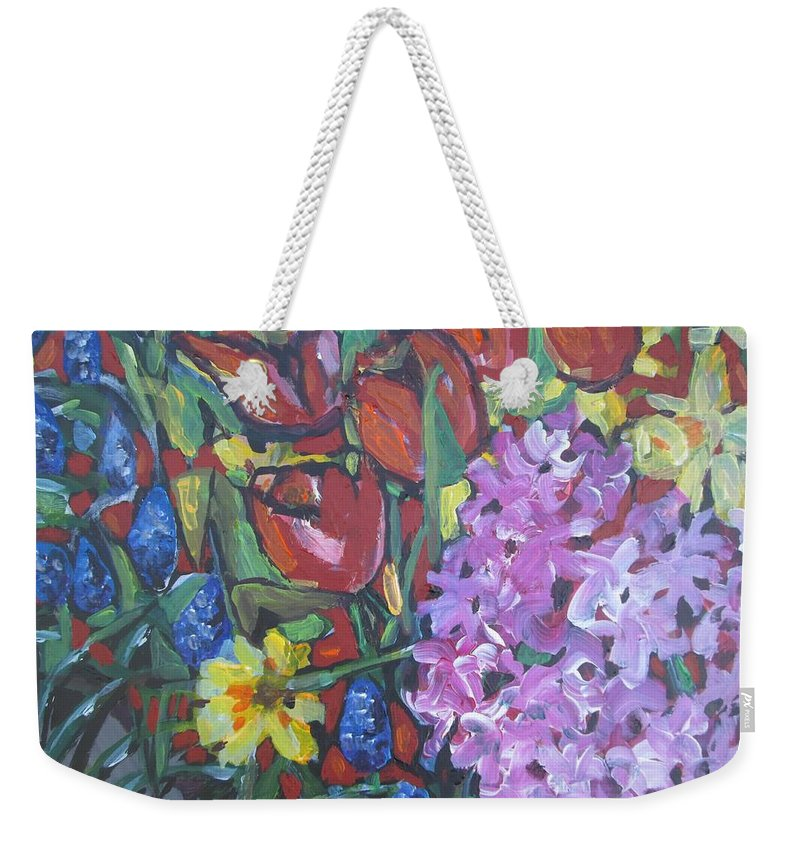 Spring Weekender Tote Bag featuring the painting Spring Flowers by Victoria Glover