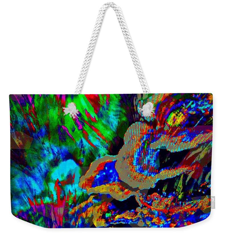 Fania Simon Weekender Tote Bag featuring the mixed media Spring Garden Festival by Fania Simon
