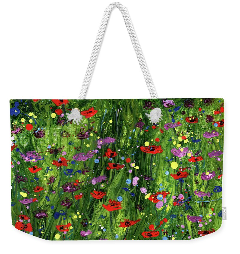White Weekender Tote Bag featuring the painting Spring Glory by Cindy Johnston