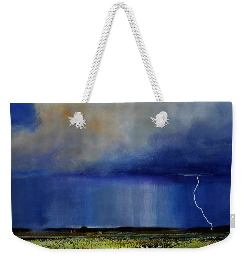 Clouds Weekender Tote Bag featuring the painting Spring Green Pastures by Toni Grote