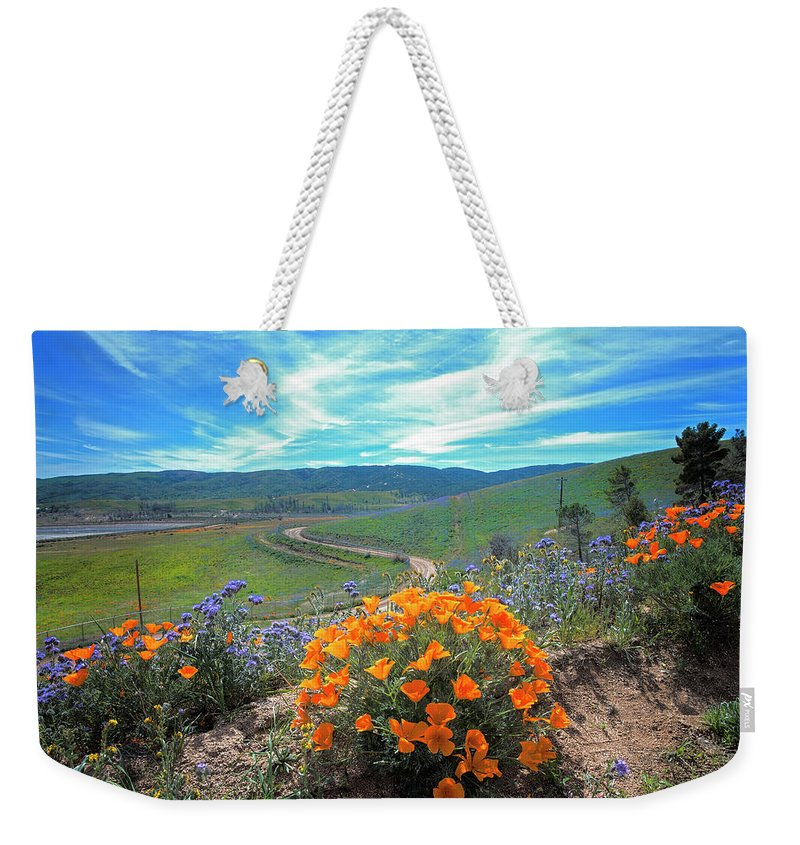 Spring Weekender Tote Bag featuring the photograph Spring Hilltop View by Lynn Bauer