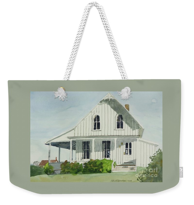 Block Island Weekender Tote Bag featuring the painting Spring Hose, Block Island by Robert Bowden