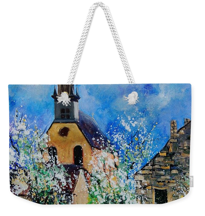 Spring Weekender Tote Bag featuring the painting Spring In Foy Notre Dame Dinant by Pol Ledent
