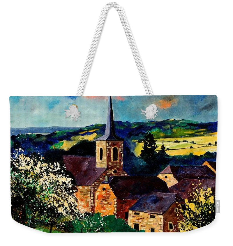 Spring Weekender Tote Bag featuring the painting Spring In Gendron by Pol Ledent