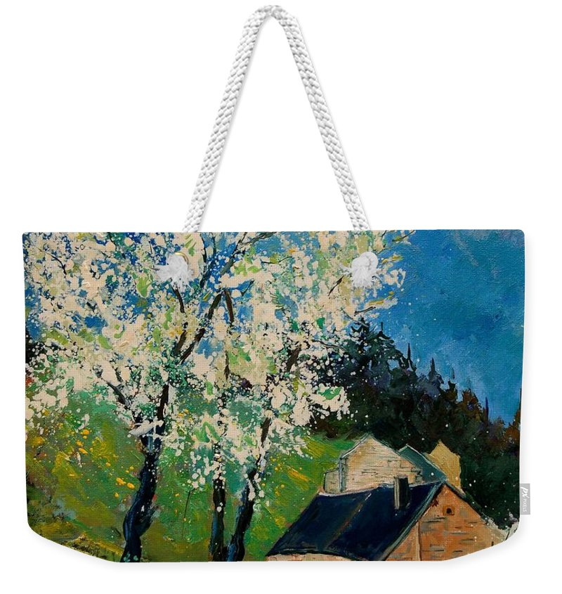 Spring Weekender Tote Bag featuring the painting Spring In Hierges by Pol Ledent