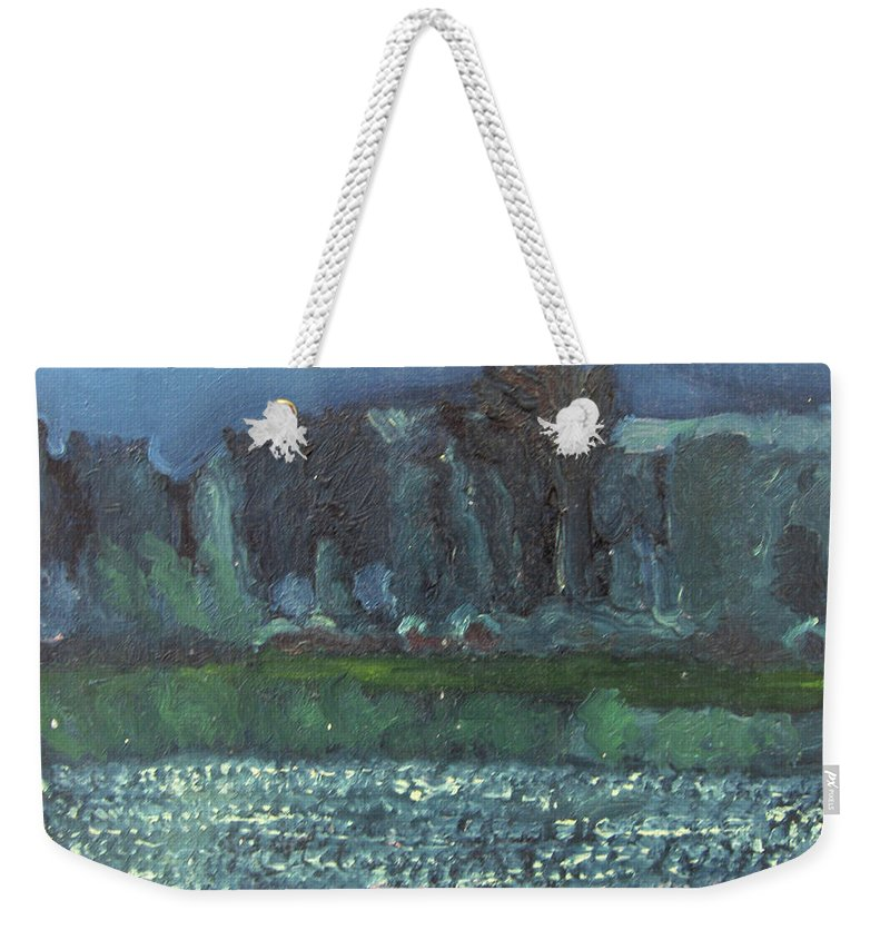 Landscape Weekender Tote Bag featuring the painting spring in Netherby by Linda Hankin