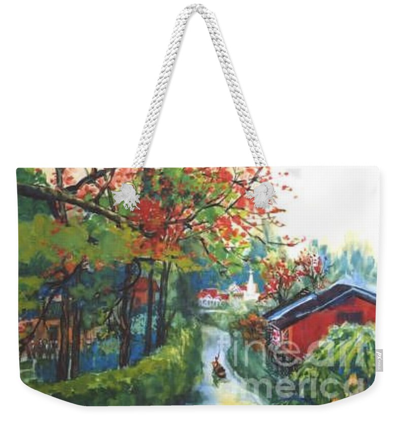 Spring Weekender Tote Bag featuring the painting Spring In Southern China by Guanyu Shi