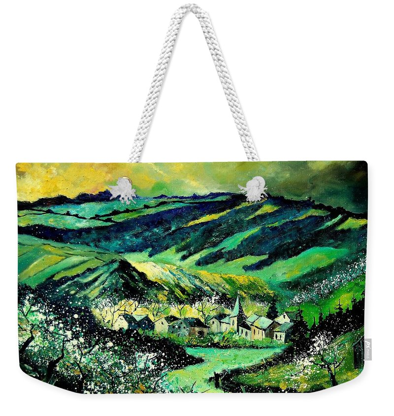 Landscape Weekender Tote Bag featuring the painting Spring In Tha Ardennes by Pol Ledent