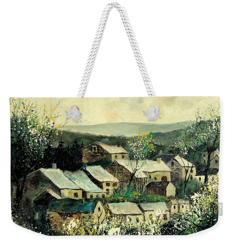 Spring Weekender Tote Bag featuring the painting Spring In The Ardennes Belgium by Pol Ledent